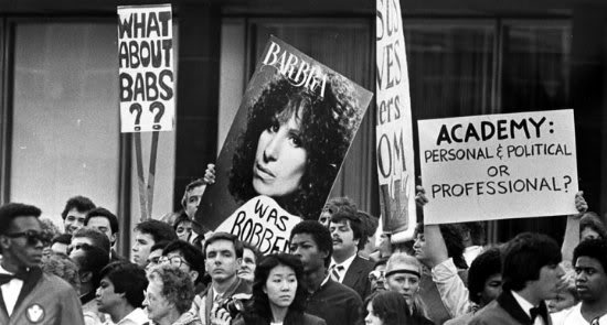 "These are protestors who believe ""BARBRA WAS ROBBED"" of a 1983 Oscar nom. Their cause is just."